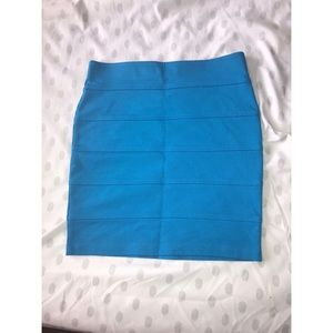 Blue Ribbed Skirt